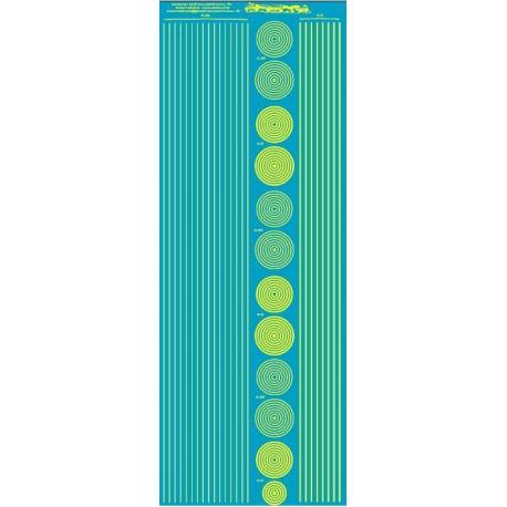 ms019 - jaune fluo : bandes et cercles de 0.25 et 0.5mm