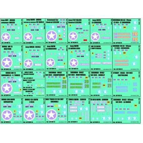 j35.A - PLANCHE DECALS - 1/35 - 26 immatriculations 2eme DB - 1/35eme
