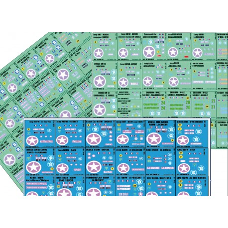 LOT 1/35 PLANCHE DECALS - 1/35 - 74 immatriculations 2eme DB - 1/35eme