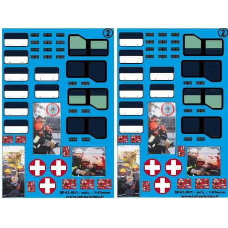 sp43.001 - vitrage master + fenêtre ambulance + rideaux FTP essonne 1 - 1/43eme