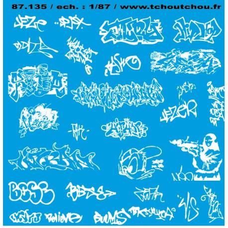 87.135 - 87.143 - tags / graffiti 7 - Décalques - 1/87eme - HO