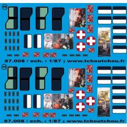 87.008 - vitrage master 2 + fenêtre ambulance + rideaux FPT essonne 1 - 1/87eme
