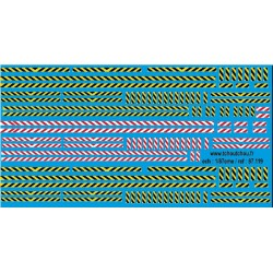 87.119 - bande zebra jaune/noir et blanc/rouge - 1/87eme